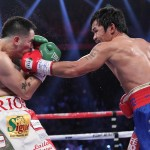 Manny Pacquiao is now back in form givne his clinical unanimous decision win over Brandon Rios. His Mexican-American opponent tried to do a Floyd Mayweather (connecting with body and head shots while clinging to an opponent) but Rios failed to bring the Pacman down (photo by Chris Farina of Top Rank)