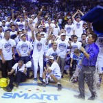 Tim Cone's second grand slam feat in the PBA is a team's --and an ice cooler's--happiness (photo by Nuki Sabio for the PBA).
