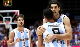 Sighs of relief were heaved by NBA players Luis Scola (tallest person in the picture) and Pablo Prigioni, as well as Nicolas Laprovittola, in the Argentinians' close 85-81 win over the Philippines at the FIBA World Cup (photo by www.fiba.com).