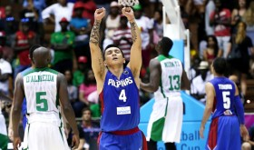 With his hands raised, Jimmy Alapag and his Philippine homeland have finally rejoiced for humping over a 40-year search for a win at world basketball's grandest change, the FIBA World Cup. There's hope then that the next hurdle, the Asian Games (or the level of play in Asia) will soon be conquered. (photo by FIBA.com)