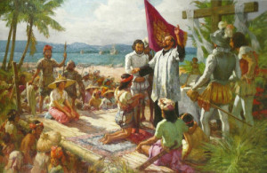 A painting by national artist Fernando Amorsolo on the first baptism in the Philippines on April 14, 1521 (image taken from xiaochua,net).