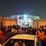 Filipinos overflowing the compound of St. Mary's Church in Dubai (photo by JASPER EMMANUEL ARCALAS / The Filipino Connection)