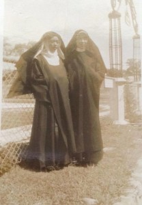 """Former nun Severina Milan (deceased) and the witness of the Lipa Marian apparitions, Teresita Castillo (still alive) in a late 1940s photo when they were still postulants at a Carmelite Monastery in Brgy. Antipolo del Norte in Lipa City. Castillo is said to be the direct witness of the Blessed Virgin Mary's appearances in Lipa City. Milan, for her part, accompanied Castillo during a psychological test at the University of Santo Tomas in 1950--and claimed she saw Castillo talk to the Blessed Virgin Mary in UST. """"She was beautiful and (is) so calm,"""" Severina was quoted as saying. (photo from the Milan family through daughter Sonia)"""