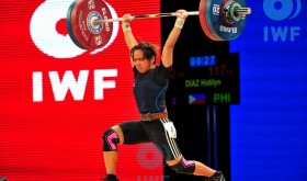 Hidilyn Diaz displays the winning form that gave her the overall bronze medal in the women's 53 kg. class at the 2015 World Weightlifting Championships in Houston, Texas, USA last November. If she gets qualified for the 2016 Rio de Janiero Olympic Games improves her lifts, Diaz might bring home the country's first Olympic medal in two decades. (photo from the International Weightlifting Federation)
