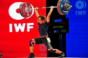 Hidilyn Diaz, in this file photo from the International Weightlifting Federation, wins a silver medal at the Rio Olympic Games.