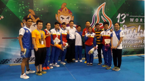 Philippine team medalists at the 2015 World Wushu Championships last November in Jakarta, Indonesia. College standouts and world championships rookies Divine Wally (19) and Arnel Mandal (20) won the country's gold medals. (photo taken from the Facebook account of silver medalist Hergie Bacyadan)