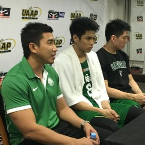 Coach Aldin Ayo with rookie Ricci Rivero and veteran Jeron Teng in a post-game presser after La Salle posted its fourth straight win in the UAAP men's basketball tournament. (photo by The Filipino Connection)