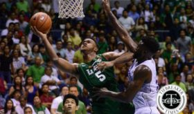 Abu Tratter eludes Alfred Aroga in a fastbreak play, helping the De La Salle University Green Archers drub a fiery National University Bulldogs challenge en route to a fourth win in the ongoing UAAP season. La Salle, analysts say, is posied to win it all this 79th season. (photo from the Tiebreaker Times.)