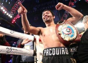 Pacquaio, now with 12 world titles in his belt, wants to sneak in one final glorious moment. He wishes it will be against a guest whom he invited to see the fight against Jessie Vargas. (photo from Top Rank Boxing)