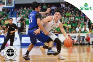 Jeron Teng of La Salle saved his Archers from a loss with a clutch shot and a defensive stop in De La Salle University's Game 1 win over the Ateneo de Manila University (photo by Joaqui Flores of Tiebreaker Times, via Facebook)