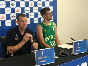 Australia coach Andrej Lemanis and center Daniel Kickert during the post-game press conference in Findon, Australia. (photo by Jeremaiah Opiniano/The Filipino Connection)