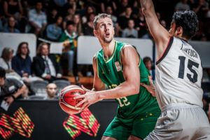 Center Daniel Kickert topscored for the Boomers with 22 pts. in its win over Japan, 82-58. (photo from FIBA)