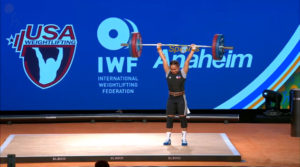 Diaz posted 110kg. on her first clean and jerk attempt. She had to sidestep to her left five times to complete the lift. (screengrab from www.teamusa.org/usa-weightlifting/live)