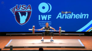 After hoisting 86kg. successfully, Diaz missed 90 kg. on her final attempt at the snatch. (screengrab from www.teamusa.org/usa-weightlifting/live)