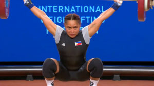 Hidilyn Diaz struggled in the snatch but came back quite strong in the clean and jerk to win two medals at the World Weightlifting Championships in Anaheim, USA. Here she hoisted 86kg. in the snatch that made her do some extra effort in the clean and jerk to snatch those silver (clean and jerk) and bronze (total lift) medals. (screengrab from www.teamusa.org/usa-weightlifting/live)