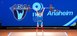 Kristina Shermetova of Turkmenistan, silver in the overall lift and bronze medalist in both the snatch and clean and jerk. (screengrab from www.teamusa.org/usa-weightlifting/live)