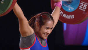 New world champion Sopita Tanasan of Thailand returned to the 53kg. class and swept the three gold medals in Anaheim (screengrab from www.teamusa.org/usa-weightlifting/live)