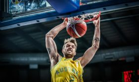 First time national player Nathan Sobey slams it home in the Aussies' win over Chinese-Taipei last November to open its 2019 FIBA World Cup campaign. (photo from FIBA.com)
